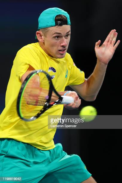 Alex de Minaur of Australia plays a forehand during his semifinal singles match against Rafael Nadal of Spain on day nine of the 2020 ATP Cup at Ken...