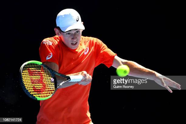 Alex de Minaur of Australia plays a forehand in his first round match against Pedro Sousa of Portugal during day one of the 2019 Australian Open at...