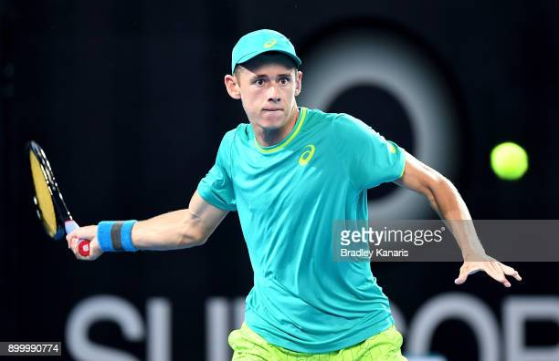 Alex De Minaur of Australia plays a forehand in his match against Steve Johnson of USA during day one at the 2018 Brisbane International at Pat...