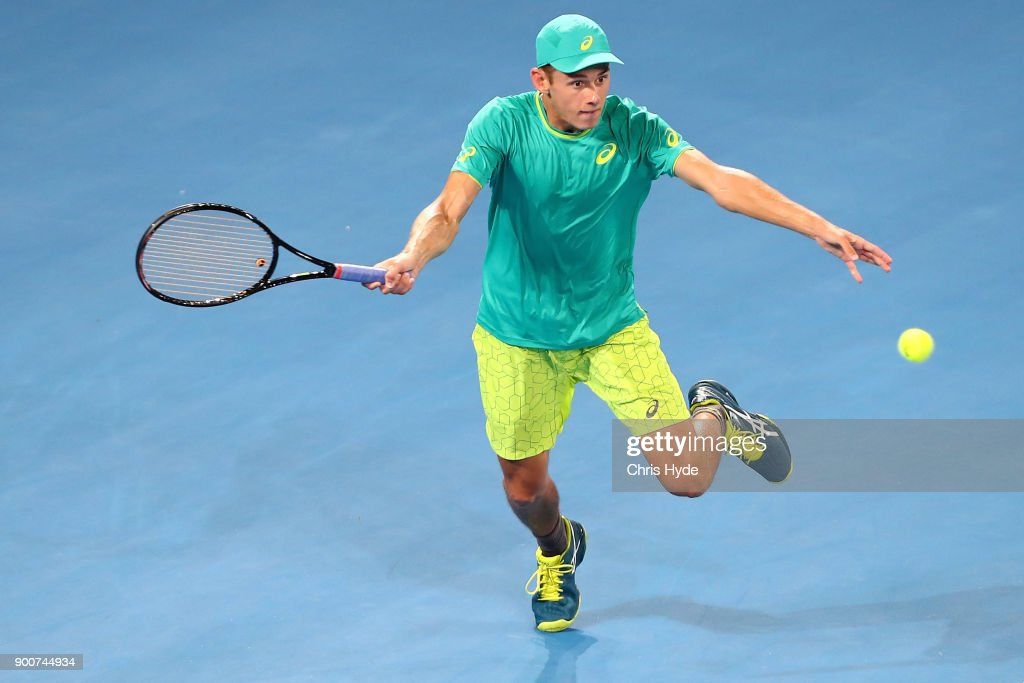 Alex De Minaur of Australia plays a forehand in his match against Milos Raonic of Canada during day four of the 2018 Brisbane International at Pat Rafter Arena on January 3, 2018 in Brisbane, Australia.
