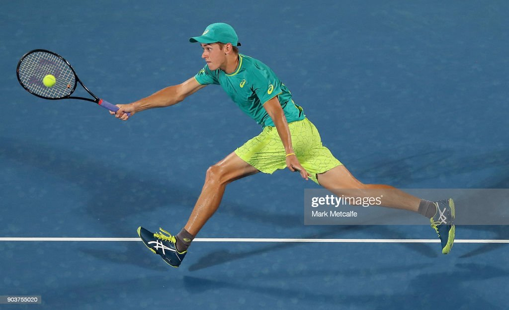 Alex de Minaur of Australia plays a forehand in his quarter final match against Feliciano Lopez of Spain during day five of the 2018 Sydney International at Sydney Olympic Park Tennis Centre on January 11, 2018 in Sydney, Australia.