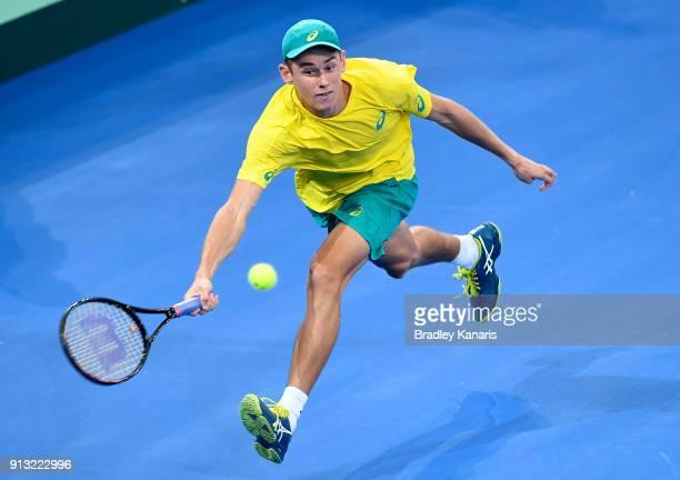 Alex de Minaur of Australia plays a shot against Alexander Zverev of Germany during the Davis Cup World Group First Round tie between Australia and...