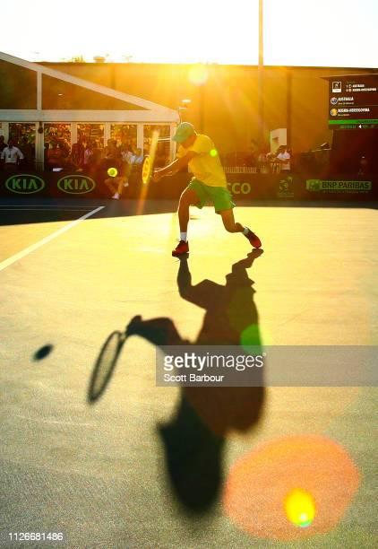 Alex de Minaur of Australia plays a shot during his rubber 2 singles match against Mirza Basic of Bosnia / Herzegovina during the Davis Cup...