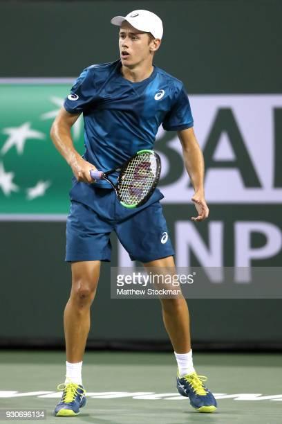 Alex De Minaur of Australia plays Juan Martin Del Potro of Argentina during the BNP Paribas Open at the Indian Wells Tennis Garden on March 11 2018...