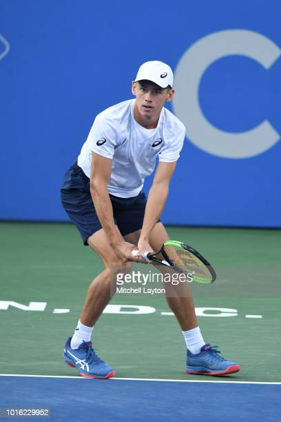 Alex De Minaur of Australia prepares to return a shot to Andrey Rublev of Russia during a semifinal match on Day Eight of the Citi Open at the Rock...