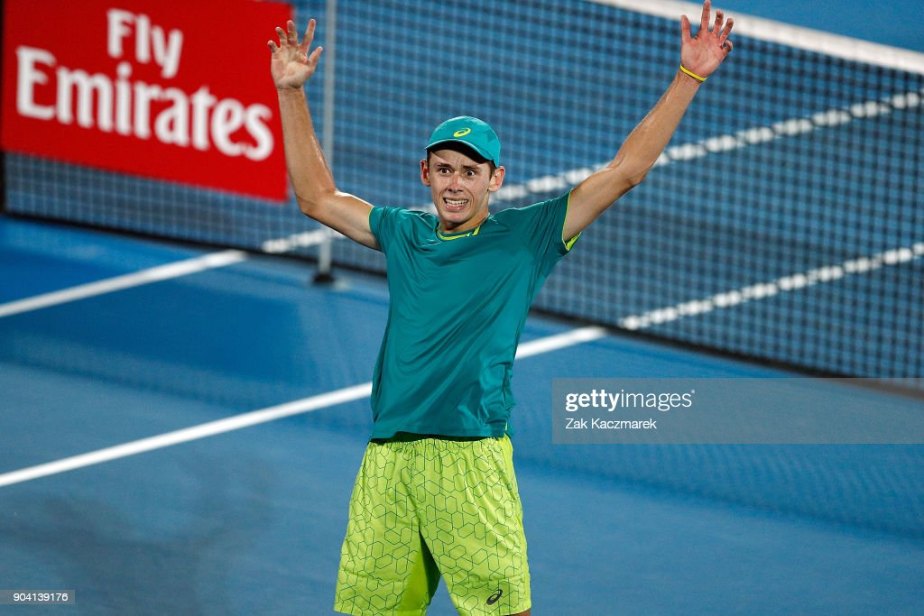 Alex de Minaur of Australia reacts after defeating Benoit Paire of France in the Men's semi final during day six of the 2018 Sydney International at Sydney Olympic Park Tennis Centre on January 12, 2018 in Sydney, Australia.