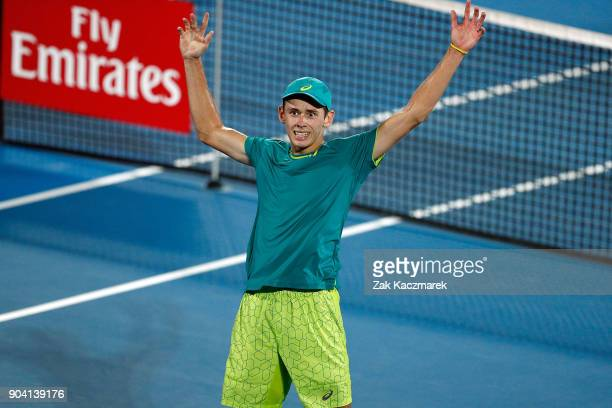 Alex de Minaur of Australia reacts after defeating Benoit Paire of France in the Men's semi final during day six of the 2018 Sydney International at...