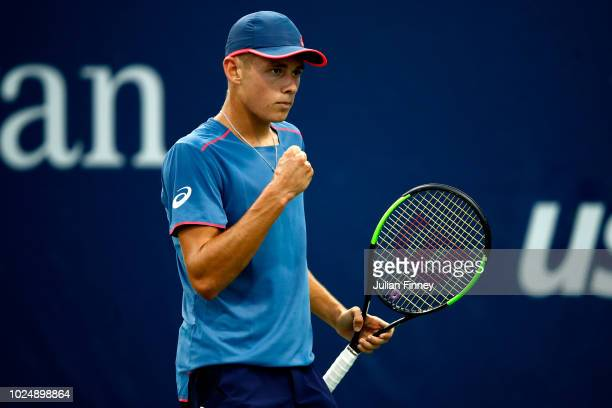 Alex De Minaur of Australia reacts during his men's singles first round match against Taro Daniel of Japan on Day Two of the 2018 US Open at the USTA...
