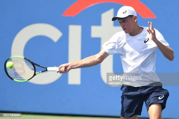 Alex De Minaur of Australia returns a forehand shot to Alexander Zverev of Germany during the Men's Finals on Day Nine of the Citi Open at the Rock...