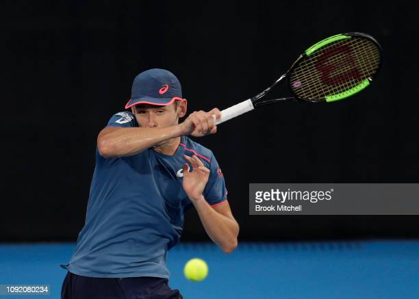 Alex De Minaur of Australia returns during his match with Jordan Thompson of Australia during day five of the 2019 Sydney International at the Sydney...