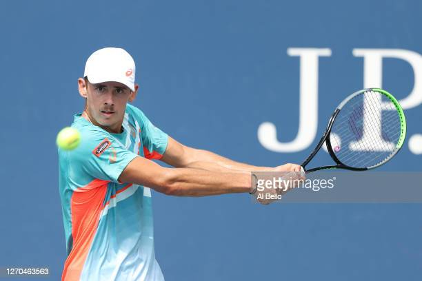 Alex de Minaur of Australia returns the ball during his Men's Singles second round match against Richard Gasquet of France on Day Four of the 2020 US...