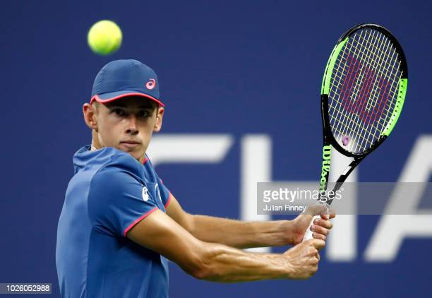 Alex de Minaur of Australia returns the ball during the men's singles third round match against Marin Cilic of Croatia on Day Six of the 2018 US Open...