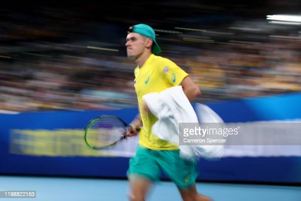 Alex de Minaur of Australia runs onto the court during his semifinal singles match against Rafael Nadal of Spain on day nine of the 2020 ATP Cup at...