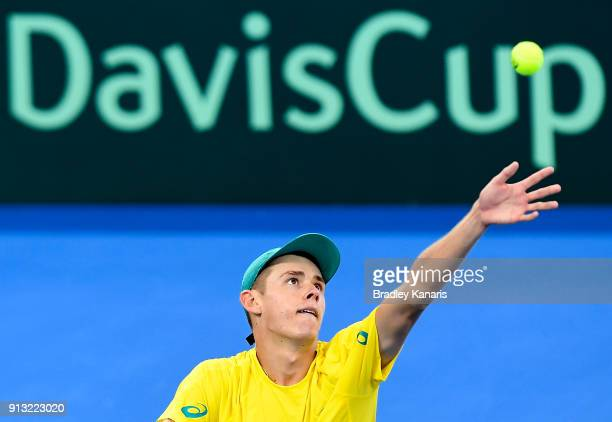 Alex de Minaur of Australia serves against Alexander Zverev of Germany during the Davis Cup World Group First Round tie between Australia and Germany...