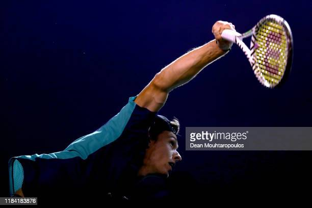 Alex de Minaur of Australia serves against Laslo Djere of Serbia on day 2 of the Rolex Paris Masters, part of the ATP World Tour Masters 1000 held at...