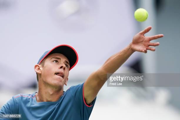 Alex De Minaur of Australia serves againstAlexander Zverev of Germany during third round of the 2018 Rolex Shanghai Masters at Qi Zhong Tennis Centre...