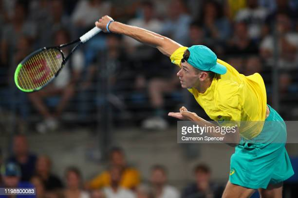 Alex de Minaur of Australia serves during his semifinal singles match against Rafael Nadal of Spain on day nine of the 2020 ATP Cup at Ken Rosewall...