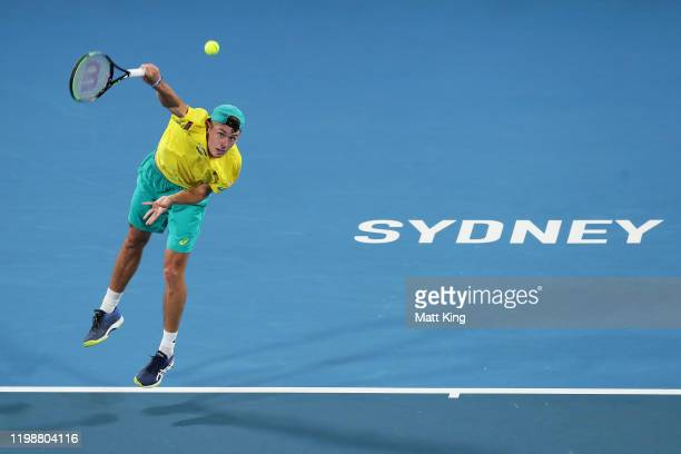 Alex de Minaur of Australia serves during his semifinal singles match against Rafael Nadal of Spain during day nine of the 2020 ATP Cup at Ken...