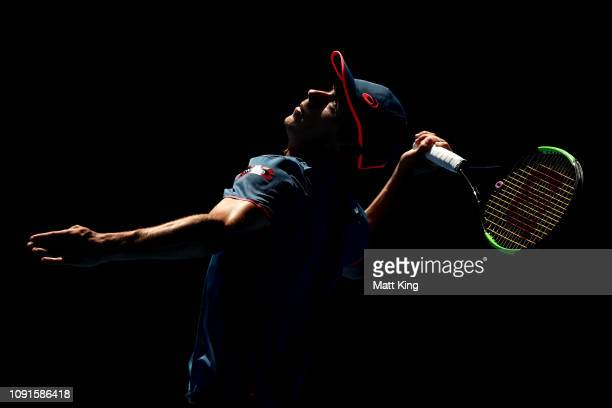 Alex De Minaur of Australia serves in his 2nd round match against Reilly Opelka of the United States during day four of the 2019 Sydney International...