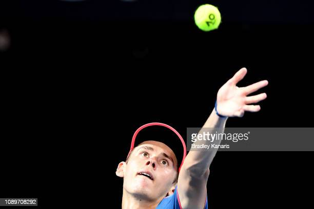 Alex De Minaur of Australia serves in his match against JoWilfried Tsonga of France during day six of the 2019 Brisbane International at Pat Rafter...