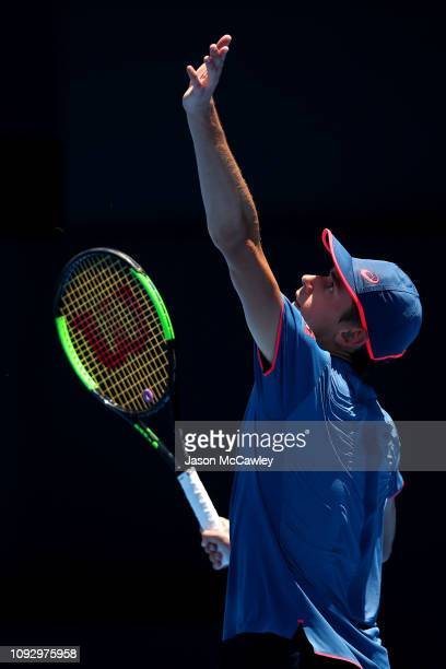 Alex De Minaur of Australia serves in the Mens Singles Semi Final against Gilles Simon of France during day seven of the 2019 Sydney International at...