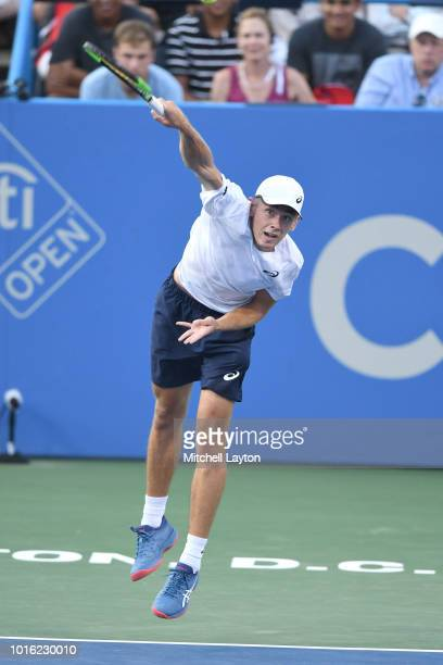 Alex De Minaur of Australia serves to Andrey Rublev of Russia during a semifinal match on Day Eight of the Citi Open at the Rock Creek Tennis Center...