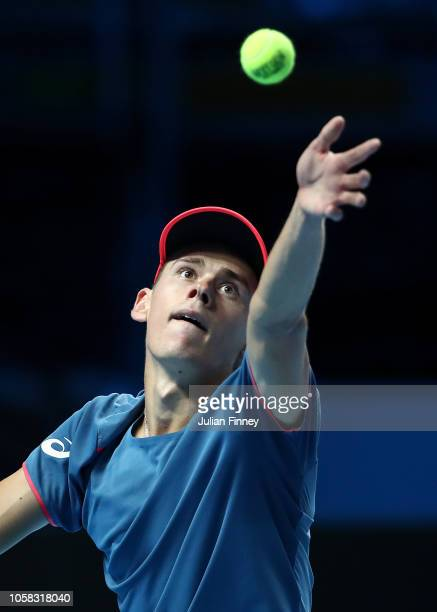 Alex de Minaur of Australia serves to Liam Caruana of Italy in the group stages during Day One of the Next Gen ATP Finals at Fiera Milano Rho on...