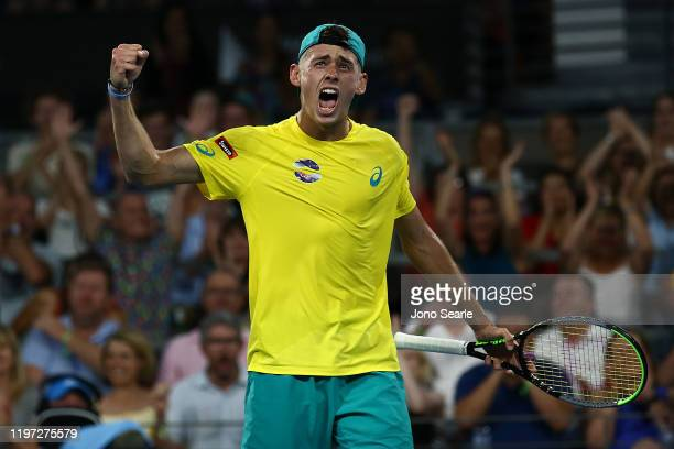 Alex de Minaur of of Australia reacts winning the second set against Alexander Zverev of Germany during day one of the 2020 ATP Cup Group Stage at...