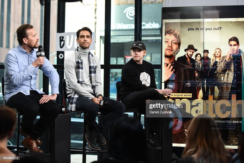 Alex De Rakoff, Luke Pasqualino and Rupert Grint attend the Build Series to discuss the new show 'Snatch' at Build Studio on March 13, 2017 in New York City.
