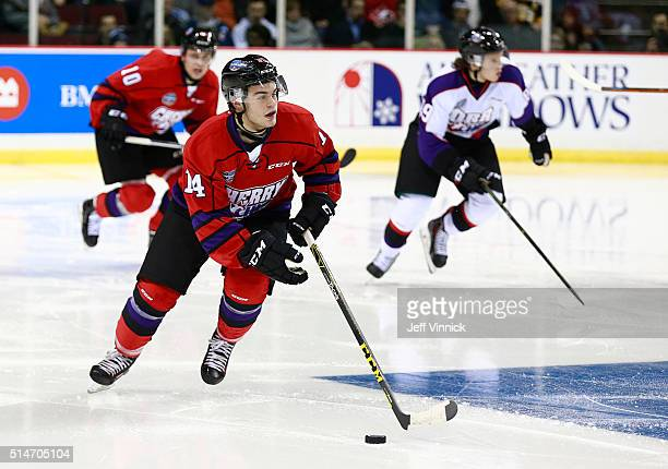 Alex DeBrincat of Team Cherry skates up ice during the CHL/NHL Top Prospects Game January 28 2016 at Pacific Coliseum in Vancouver British Columbia...