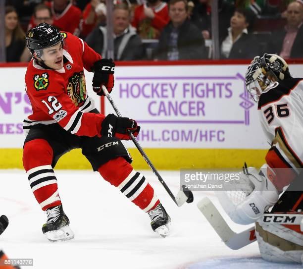 Alex DeBrincat of the Chicago Blackhawks shoots against John Gibson of the Anaheim Ducks at the United Center on November 27 2017 in Chicago Illinois...