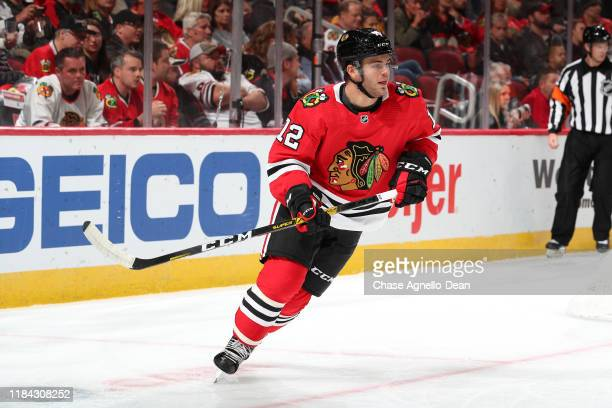 Alex DeBrincat of the Chicago Blackhawks skates in the first period against the Vegas Golden Knights at the United Center on October 22 2019 in...