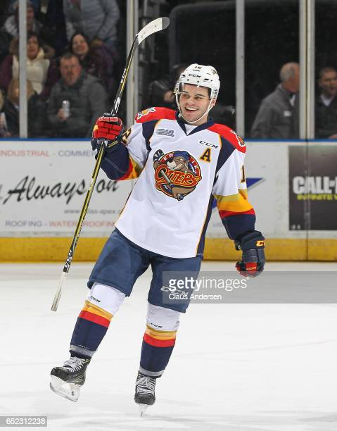 Alex DeBrincat of the Erie Otters celebrates scoring a goal in a 19th straight game tying a league record set in 1988 by Mike Ricci during play...