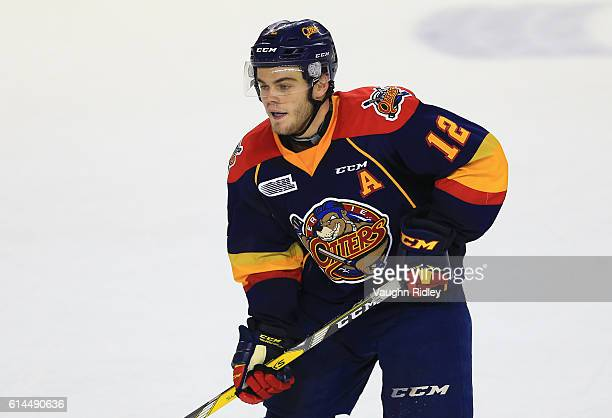 Alex DeBrincat of the Erie Otters skates during an OHL game against the Niagara IceDogs at the Meridian Centre on October 6 2016 in St Catharines...