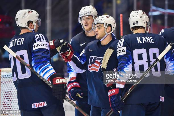 Alex DeBrincat of USA celebrates scoring a goal during the 2019 IIHF Ice Hockey World Championship Slovakia group A game between United States and...