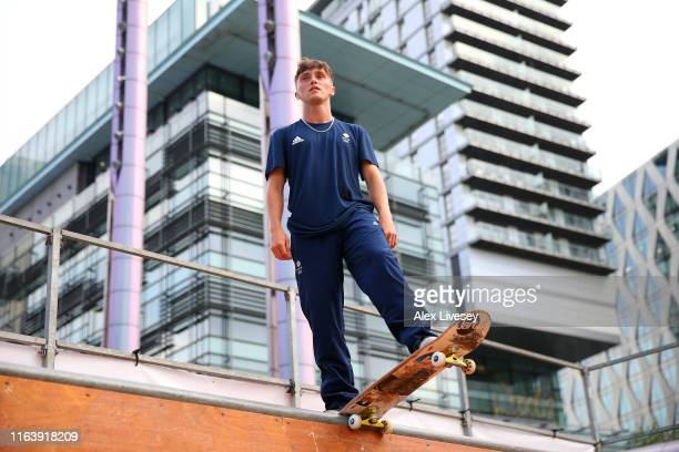 Alex Decunha of Team GB poses for a photo during the Team GB British Olympic Association Tokyo 2020 One Year To Go Media Event at Media City on July...