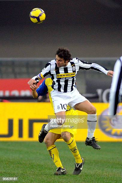 Alex Del Piero of Juventus in action during the Serie A match between Chievo and Juventus at Stadio Marc'Antonio Bentegodi on January 17 2010 in...