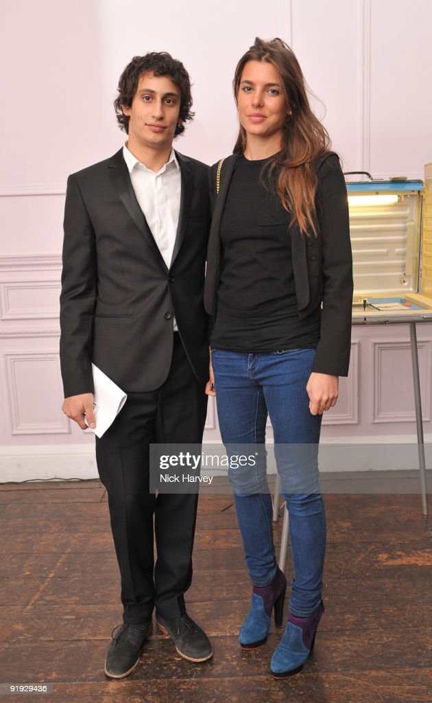 Alex Dellal and Charlotte Casiraghi attend the opening night of 'The Embassy' exhibition at 33 Portland Place on October 15, 2009 in London, England.
