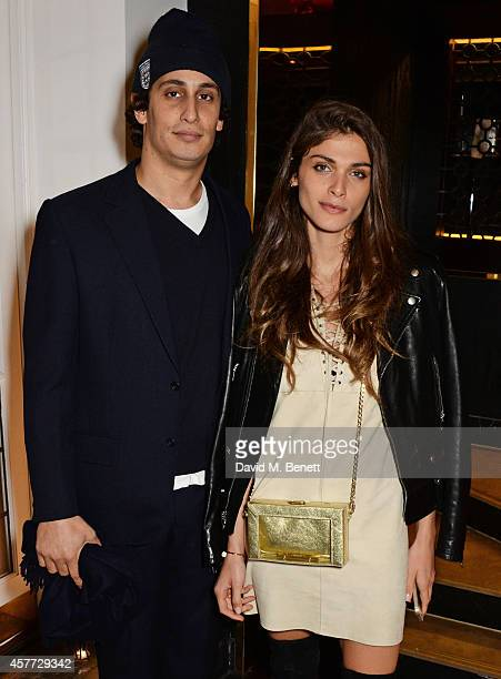 Alex Dellal and Elisa Sednaoui attend the Charlotte Olympia 'Handbags for the Leading Lady' launch dinner at Toto's Restaurant on October 23 2014 in...