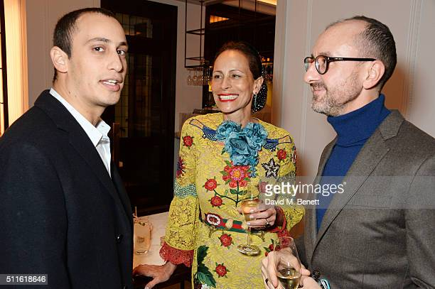 Alex Dellal Andrea Dellal and Gianluca Longo attend as mytheresacom and Burberry celebrate the new MYT Woman at Thomas's on February 21 2016 in...