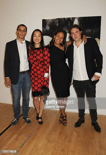 Alex Dellal Yi Zhou Rachel Barrett and Adam Weymouth attend a private viewing of artist Yi Zhou's new work 'I Am Your Simulacrum' at 20 Hoxton Square...