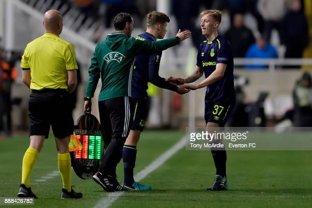 Alex Denny of Everton as he is about to make his debut during the UEFA Europa League Group E match between Apollon Limassol and Everton at GSP...
