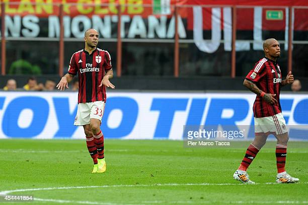 Alex Dias da Costa and Nigel De Jong of AC Milan during the Serie A match between AC Milan and SS Lazio at Stadio Giuseppe Meazza on August 31 2014...