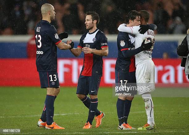 Alex Dias Da Costa and Yohan Cabaye congratulate each other at the end of the Ligue 1 match between Paris SaintGermain FC and FC Girondins de...