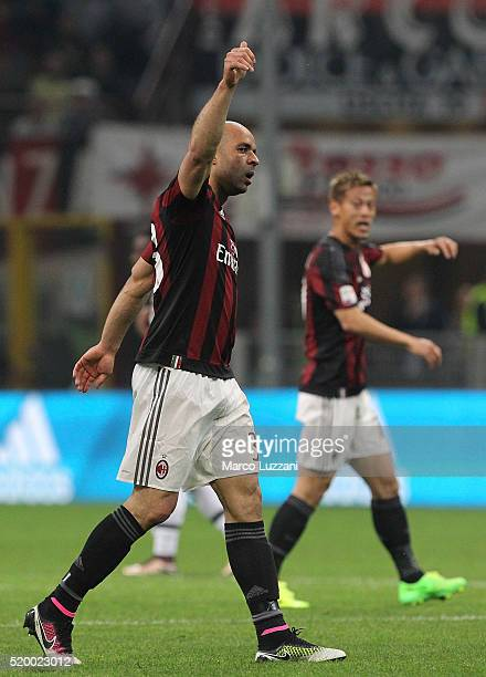 Alex Dias da Costa of AC Milan celebrates after scoring the opening goal during the Serie A match between AC Milan and Juventus FC at Stadio Giuseppe...
