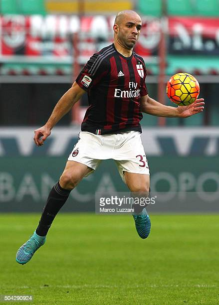 Alex Dias da Costa of AC Milan in action during the Serie A match between AC Milan and Bologna FC at Stadio Giuseppe Meazza on January 6 2016 in...