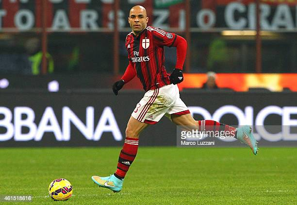 Alex Dias da Costa of AC Milan in action during the TIM Cup match between AC Milan and US Sassuolo Calcio at Stadio Giuseppe Meazza on January 13...