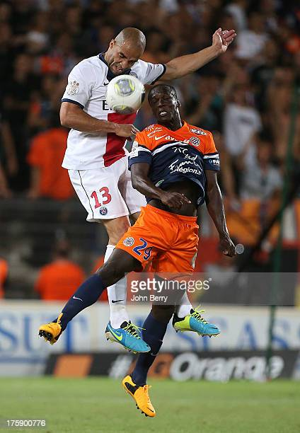 Alex Dias Da Costa of PSG and Victor Montano of Montpellier in action during the opening french Ligue 1 match between Montpellier Herault SC and...