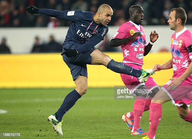 Alex Dias Da Costa of PSG in action during the French Ligue 1 match between Paris Saint Germain FC and Evian Thonon Gaillard FC at the Parc des...