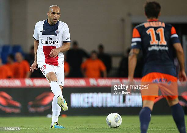 Alex Dias Da Costa of PSG in action during the opening french Ligue 1 match between Montpellier Herault SC and Paris SaintGermain FC at the Stade de...